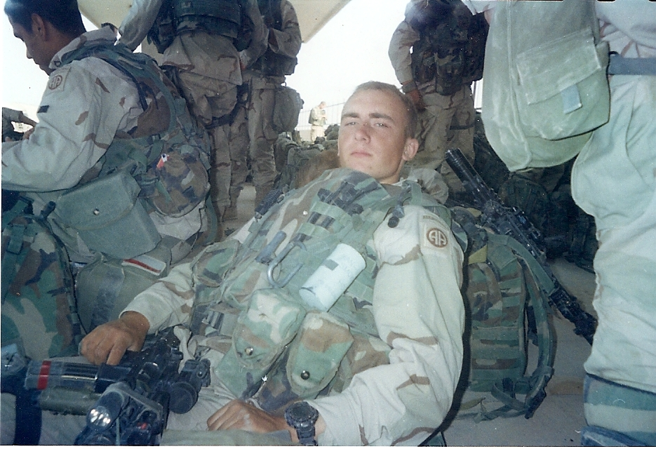 A tired and exhausted me, geared up and ready to roll out of As Samawah (April 3, 2003)