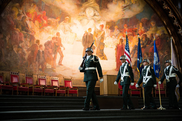 Amazing photo of the JROTC Color Guard on the stage in the Great Hall. Photo by New York Times photographer Damon Winters.