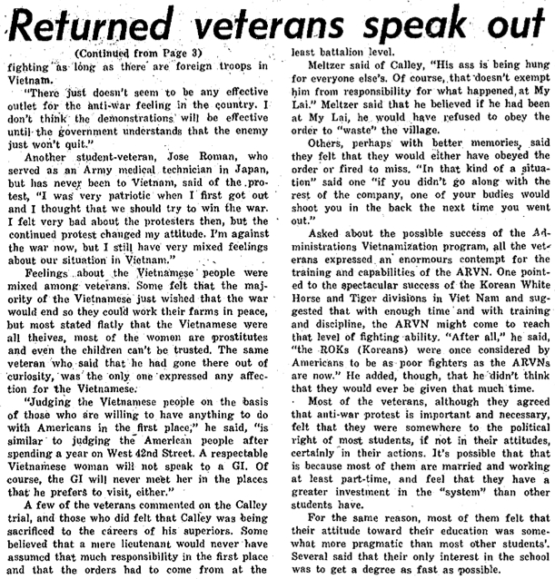 Returned veterans speak out