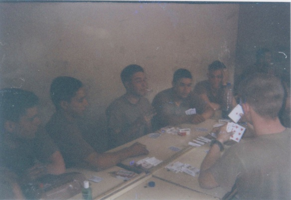 Downtime at the school in Baghdad usually involved playing cards. I never really got into playing cards. Everyone played spades. (Baghdad, ~May 8, 2003)