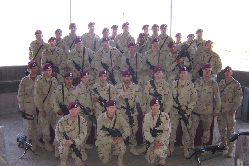 We went to the swords of qadisiya - the crossed swords - to do the company CIB ceremony. The platoon broke off and took a platoon photograph.