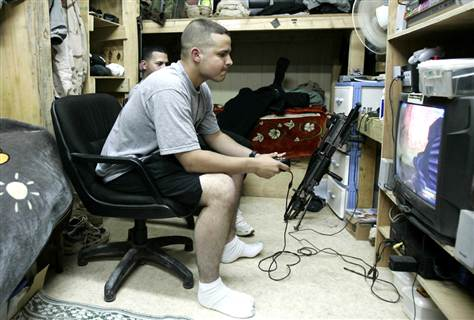 Soldier playing video games